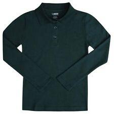 School Uniform Girls 10 L/S Polo Hunter Green French Toast Picot Collar Shirt
