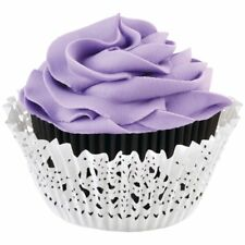 Wilton 48 Pk DOILY BLACK Cup Cakes Muffin Baking Decorating Decoration Cases Kit