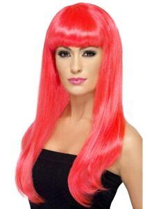 Cerise Pink Long Wig Ladies Babelicious Celebrity Fancy Dress Accessory
