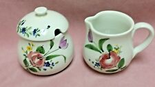 Hand Painted Made Italy Creamer #5905 & Sugar Bowl w/Slotted Lid  #4847-Floral