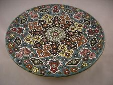 Persian Style Decorative Handmade Mina Kari Pottery Enameled Wall Hanging Plate