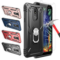 For LG K40 / Xpression Plus 2 Case With Ring Holder Stand+Glass Screen Protector