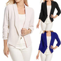 Women's 3/4 Sleeve Blazer Open Front Short Cardigan Suit Jacket Work Office Coat