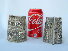 1930s Vtg 800 Silver Matching Filigree Large Hinged Cuff Bracelets Italy Signed