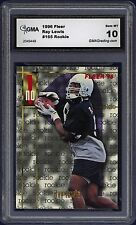 1996 Ray Lewis Fleer # 165  ROOKIE Graded  MT 10
