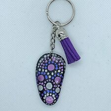 Key chain, hand painted stone, purse charm, gift. leather tassel, Christmas