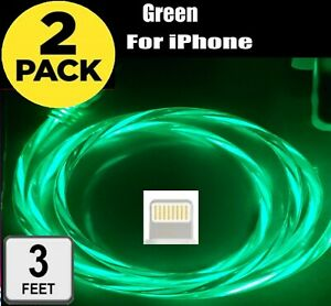 2 Pack LED Light Up Fast Charge Cable USB Charger Cord for Samsung iPhone MOTO