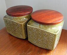 Vintage MCM Sadler England Porcelain Storage Tea Canister Set Wood Lid Pair