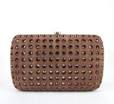 $1950 New Auth Gucci Broadway Suede Evening Bag Clutch Crystal Brown 310005 5471
