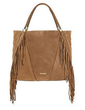 $498 CALVIN KLEIN Fringed Suede Tote GENUINE LEATHER NWT, Gorgeous!