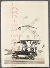 Vintage Car Photo Early 1920s Chevrolet Chevy & Windmill Gas Station 759568