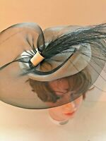 Sonni San Francisco Womens Ivory Straw & Black Net Feather Fascinator Hat