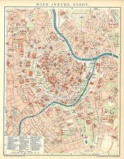 Historische alte Stadtkarte 1898: Wien, innere Stadt. Stadtplan Österreich (B14)