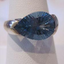 4.12 CTw, PS Quantum Cut, London Blue Topaz Ring, 10 KT WG, Size 7