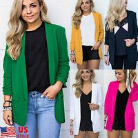 Women Solid Color Long Sleeve Blazer Ladies Work Office Formal Jacket Plus Size