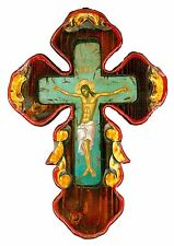 Handmade Wooden Greek Orthodox Aged Icon Painting Canvas Cross Crucifix M59