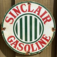 VINTAGE SINCLAIR GASOLINE PORCELAIN METAL SIGN GAS STATION PUMP ADVERTISING 12""