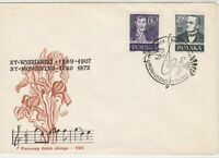 Polish 1958 Musical Notes Theme Treble Clef Cancel FDC Stamp Cover ref 23011