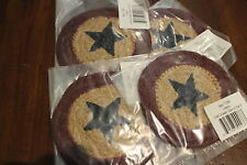 Lot of 4 Americana Liberty Star Coasters Braided Rustic Primitive Country Jute