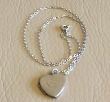Vintage Retro Silver Heart Sweetheart Locket Pendant Chain Necklace Valentines