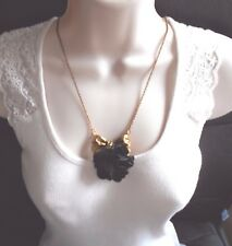 "Antique Gold Bow and Black Fabric Flower Necklace 30"" Long"