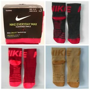 NIKE EVERYDAY MAX CUSHIONED ANKLE SOCKS - 3 Pair Brand New!  Lim. Ed. Colors