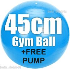 45 cm Taille Bleu Fitness Exercice Swiss Fit Yoga Gym Ball Core Gymball & Pompe
