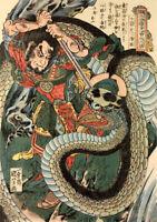 Vintage Art print Japanese Japan Kuniyoshi painting fight samurai swords snake