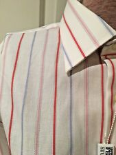 NWT Men's GIANFRANCO FERRE White Red Blue Pink Striped Shirt 16.5 x 42 Italy
