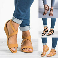 Women's Ladies Low Heel Open Toe Casual Buckle Strap Wedges Sandals Shoes Hot