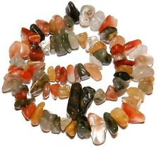 """NG1679f Multi-Color Lodolite X-Large (13-21mm) Natural Quartz Gemstone Beads 15"""""""
