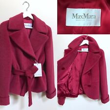 Max Mara Coat Jacket Raspberry Pink Alpaca Wool Tie Waist Wrap Coat S UK 10 BNWT