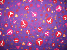 LOVE AND PEACE SYMBOLS JOY PURPLE INSPIRATIONAL COTTON FABRIC FQ OOP