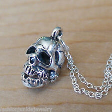 Skull Necklace - 925 Sterling Silver - Movable Charm Jewelry Gothic Pendant NEW