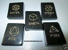 Black Jasper 5 Element Symbol Engraved Healing Sets Chakra Balancing Pouch A++