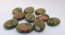 "PACK OF 10 UNAKITE  GEMSTONE  BEADS  ""OVAL"" 18mm X13mm X 5mm"