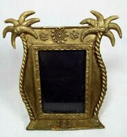 Vintage Brass Decorative Palm Tree Easel Vacation Picture Frame Holder