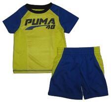 PUMA Toddler Boys' Colorblocked Tee and Shorts Set, Royal Blue, 3T