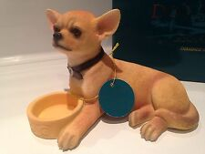 Chihuahua With Bowl Dog Ornament Figurine Figure Gift Present