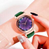Ladies Watch Starry Sky Diamond Dial Women Bracelet Watches Leather Strap C998