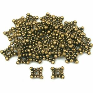Square Bali Spacer Beads Antique Gold Plt 8mm Approx 50
