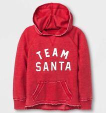 NEW Girls Team Santa Christmas Hoodie Shirt Red Weathered Lifeguard Look XS S