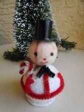 Vintage Snowman Spun Cotton Head & Putz & Mica&Chenille Candy Cane Xmas Ornament