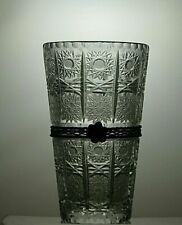 More details for american brilliant period crystal cut glass vase with metal band 7 7/8