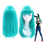 Bulma Medium Long Straight Bangs Green Cosplay Wig Party Hair Wigs