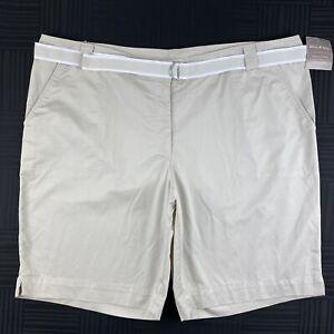 White Stag Womens Plus Size 22W Beige Khaki Cotton Stretch Belted Bermuda Shorts
