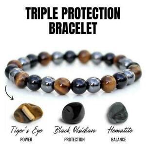 Unisex Obsidian Tiger Eye Hematite Bracelet Triple Stone Protection E9T0