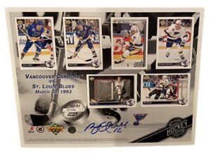 Brett Hull Signed 1992-93 Upper Deck Hockey Card Sheet SGA St. Louis Blues