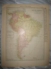 Superb Antique 1915 North Northern & South America Map Galapagos Islands Fine Nr
