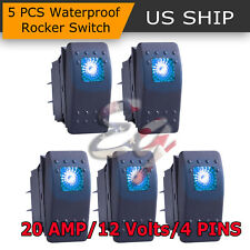 5x 4 PIN Marine Boat Car Rocker Toggle Switch SPST ON-OFF LED Light Bar 12V Blue